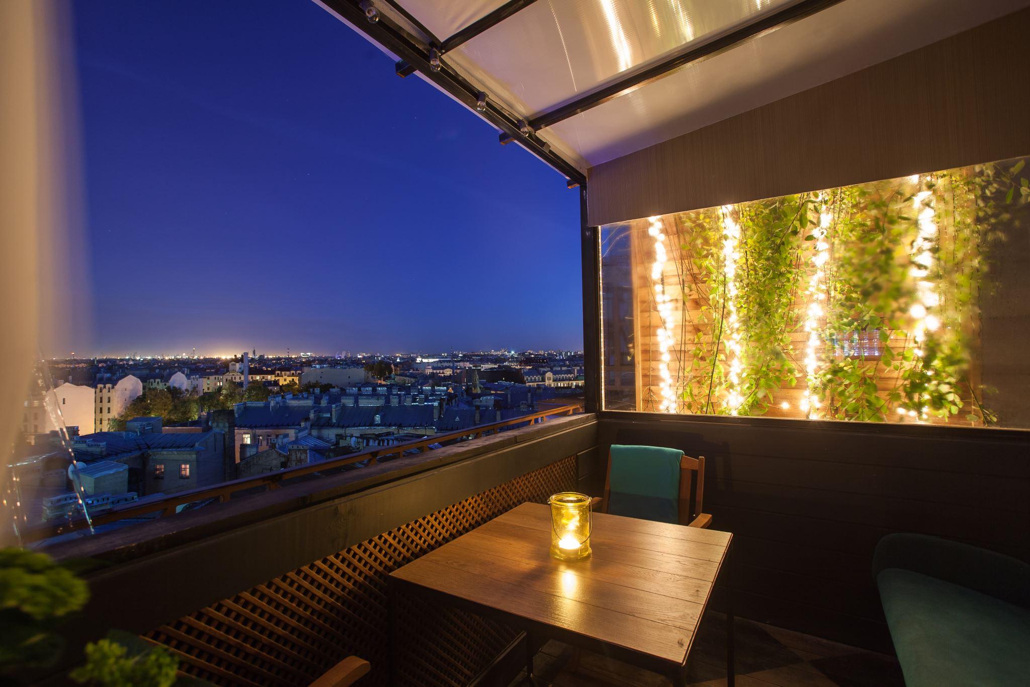фото ночь терраса ростки зеленоватого